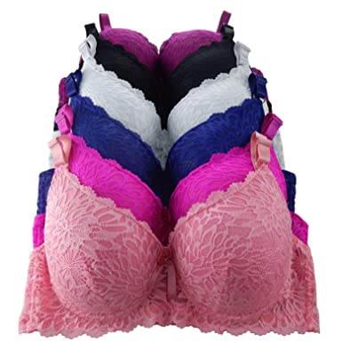 5d20ea1f13 Iheyi 6 Pieces Plus Size Wired Full Cup/Demi Lace Plain Light Padded ...