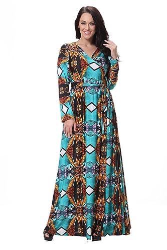 HDYS Le donne del vestito di grandi dimensioni La nuova v profondo grasso collare crush irregolare v...