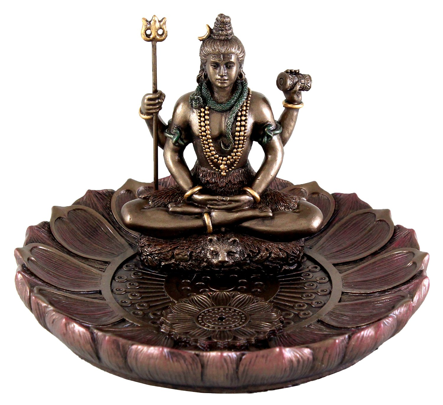 Top Collection Hindu God Shiva in Meditation Round Incense Holder Plate Incense Burner by Top Collection (Image #1)