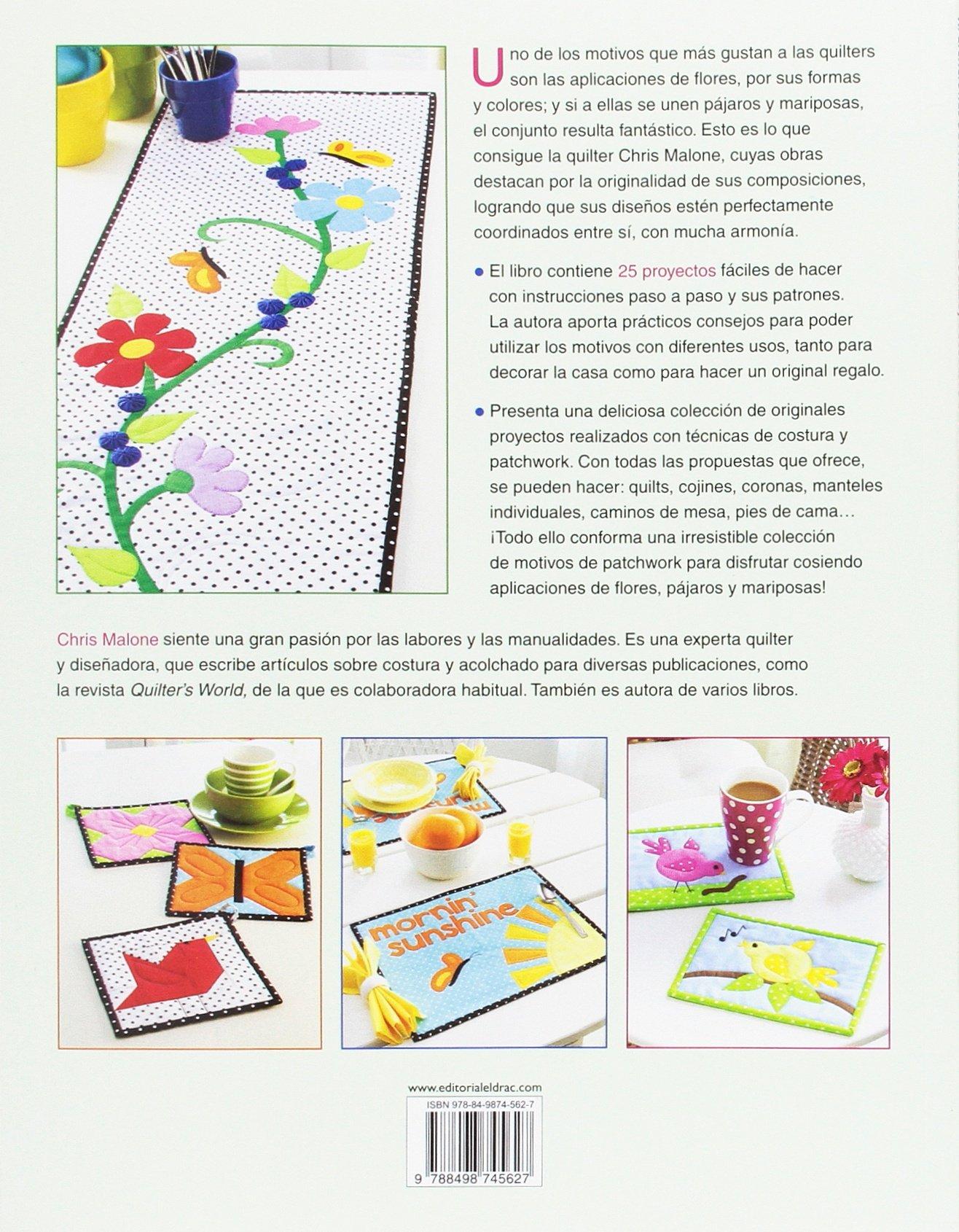 Aplicaciones de patchwork. Flores, pájaros y mariposas ...