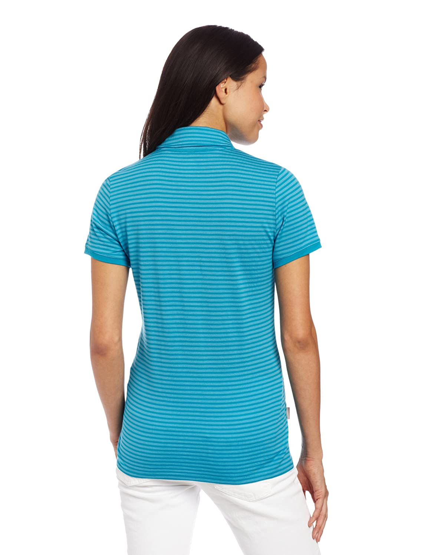 Icebreaker Tech Stripe Polo para Mujer, Mujer, IBCE85, Capri/Gulf ...