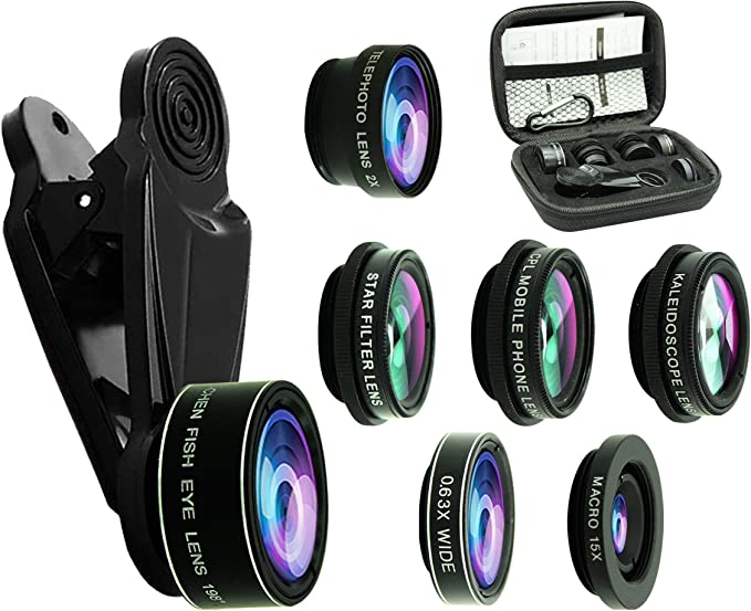Phone Camera Lens,7 in 1 Cell Phone Lens Kit for iPhone and Android 198/°Fisheye,120/° Wide Angle,20X Macro,2X telephoto,CPL,Starburst Lens,6 Kaleidoscope Lens