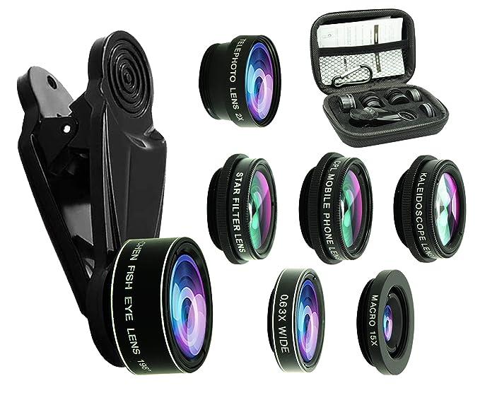 4f2eb4c11787dd Amazon.com: 8 in 1 Phone Camera Lens Kit, 0.63Wide Angle Lens+15X ...
