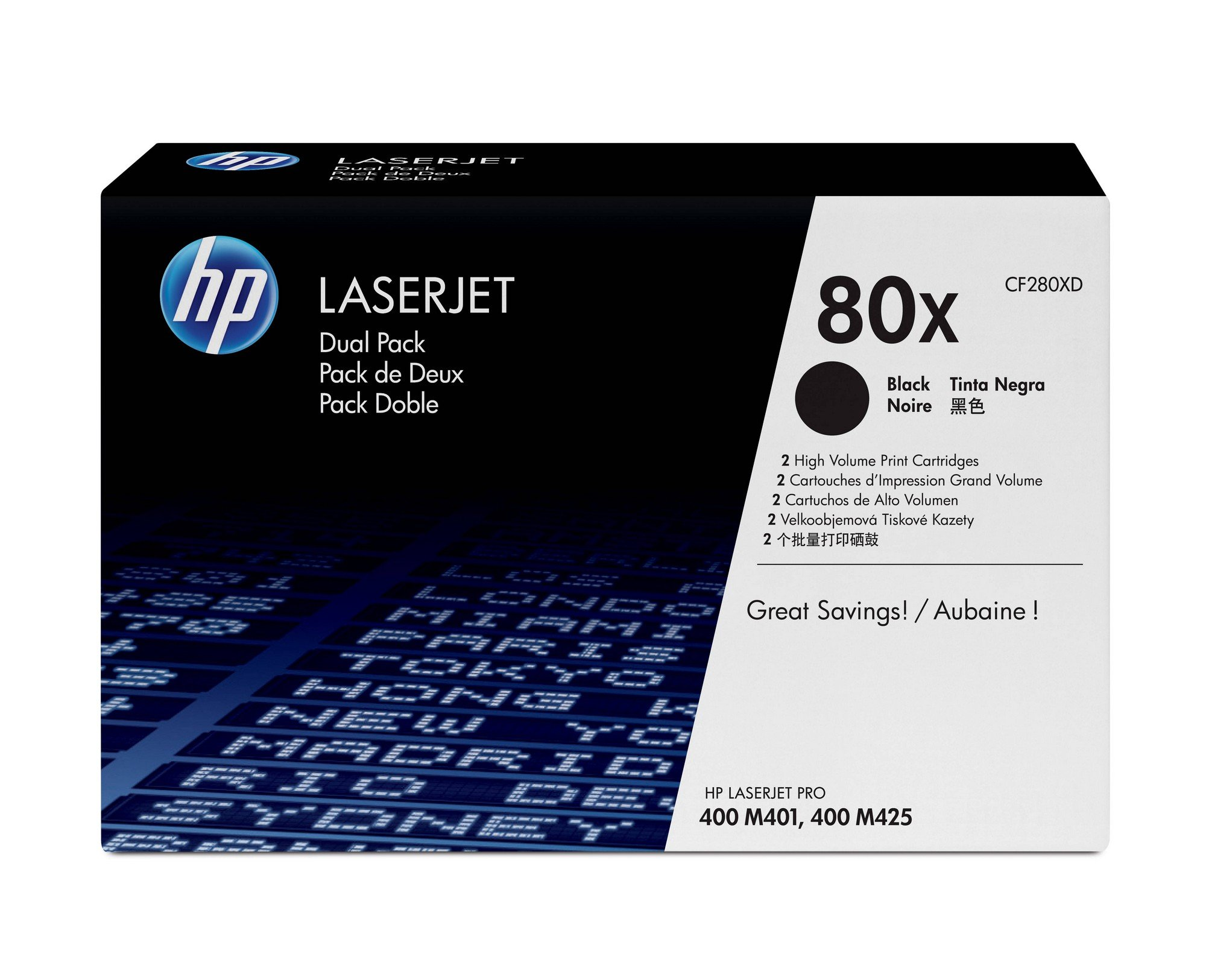 HP 80X (CF280X) Black Toner Cartridge High Yield, 2 Toner Cartridges (CF280XD)