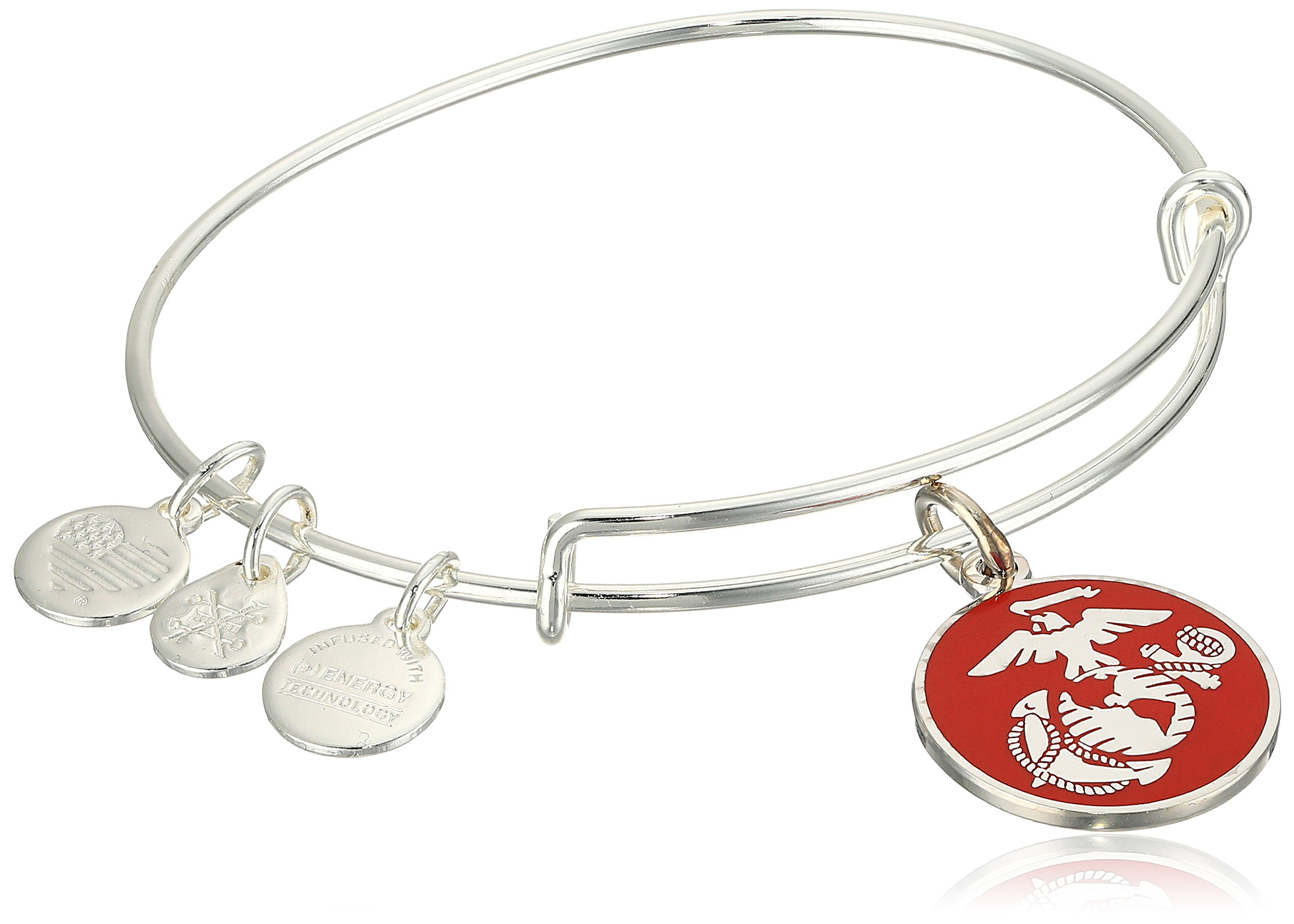Alex and Ani Armed Forces US Marine Corps, Expandable Silver Wire Bangle Charm Bracelet