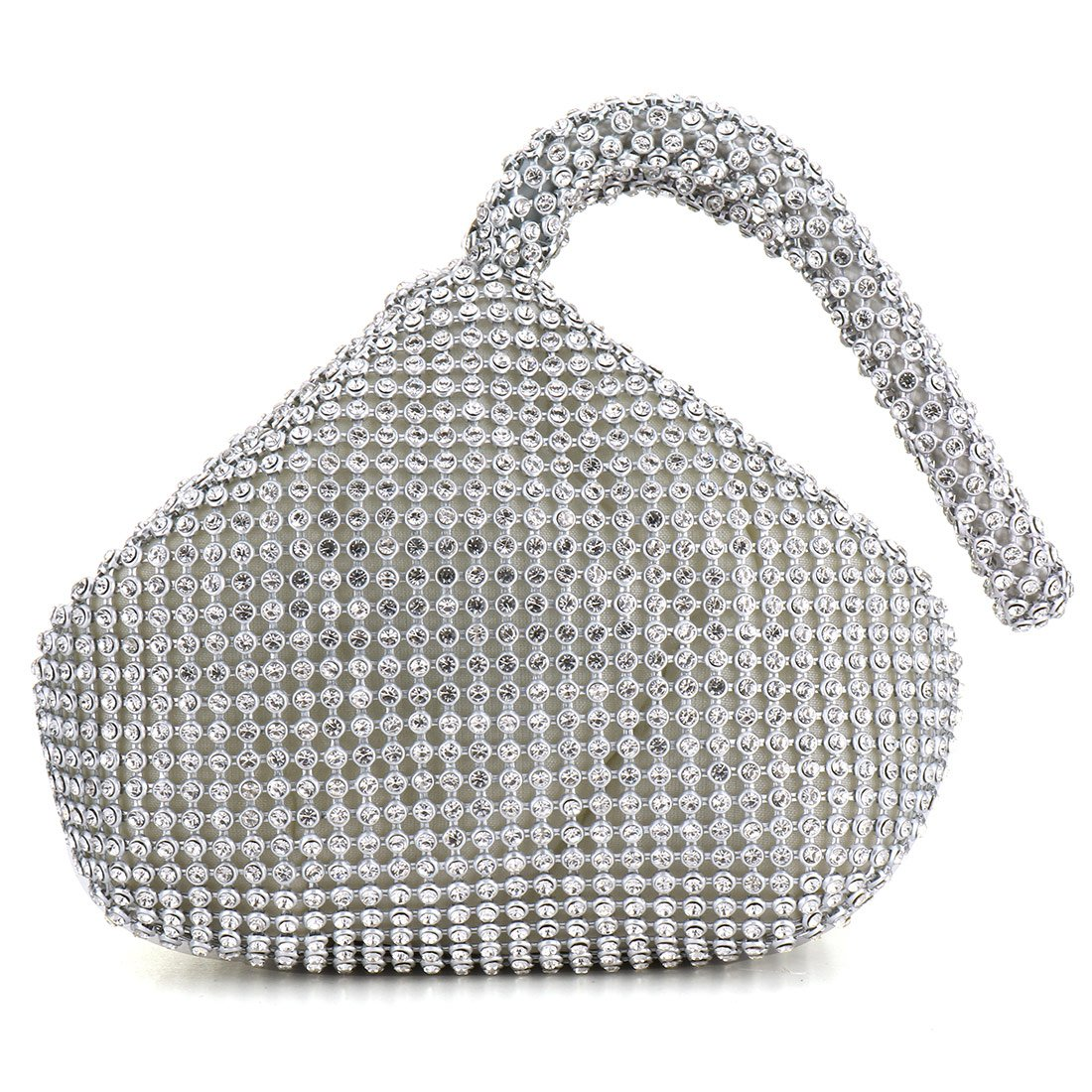 Women Evening Wedding Clutch Triangle Design Rhinestones Purse Handbag for Party Prom (Silver)
