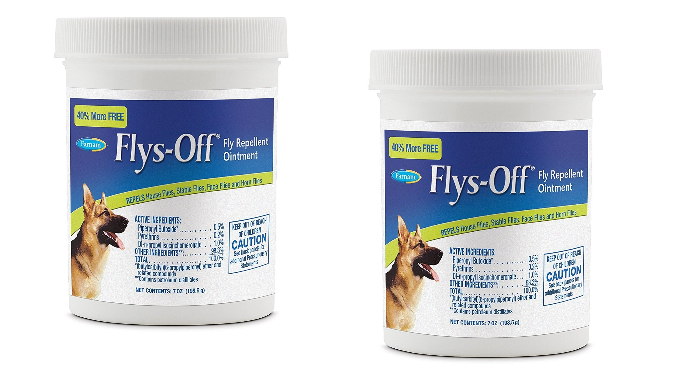 Farnam Flys-Off Fly Repellent Ointment Repels Flies on Dogs, Horses & Ponies. Protects and Heals Wounds and Sores(7oz 2Pack)