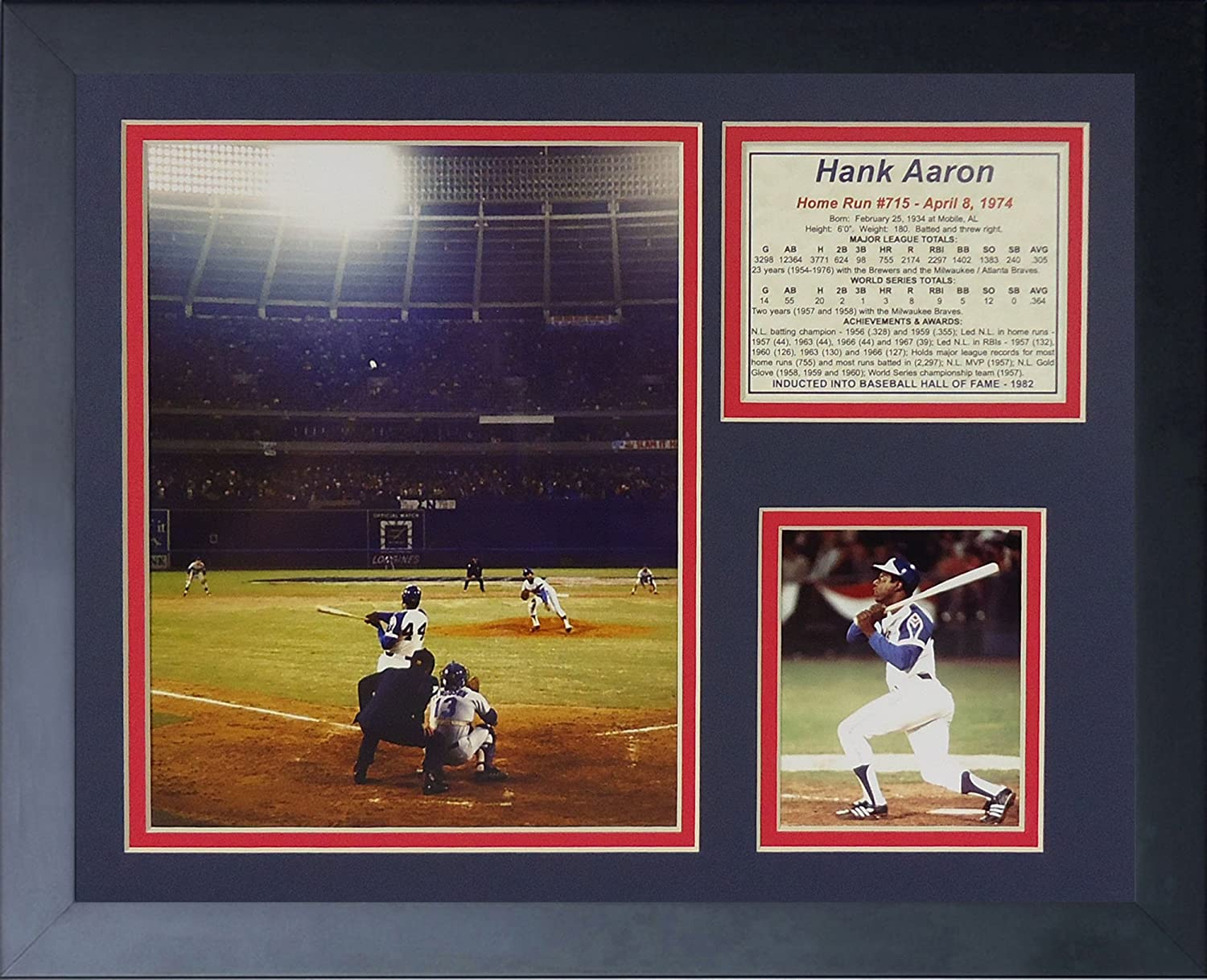 """Hank Aaron - 715th Home Run Color 11"""" x 14"""" Framed Photo Collage by Legends Never Die, Inc."""