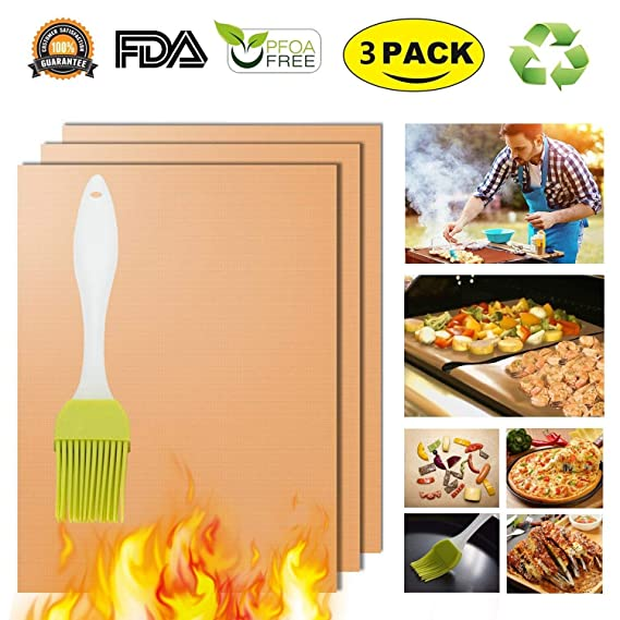 Cobre Grill Mat Horno Liners Baking Mats - 100% antiadherente mejor barbacoa alfombrillas para parrillas de carbón eléctrico Gas reutilizable y fácil de ...