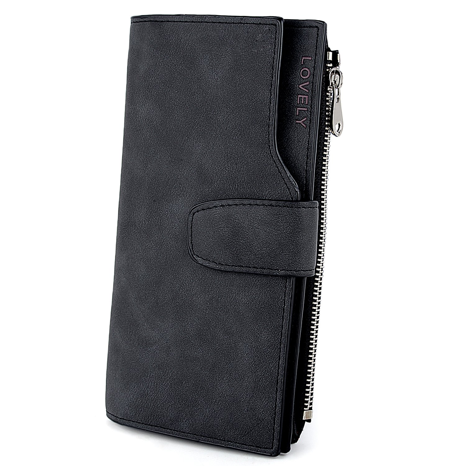 UTO RFID Wallet for Women PU Matte Leather Wallet Card Zipper Phone Holder Organizer Girls Coin Purse product image