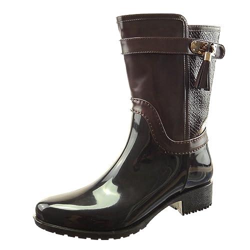 Sopily - Zapatillas de Moda Botines Botas botas de guma de lluvia A medio muslo mujer