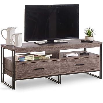 Vonhaus Rustic Tv Unit 120cm Cabinet With 2 Drawers Amazoncouk