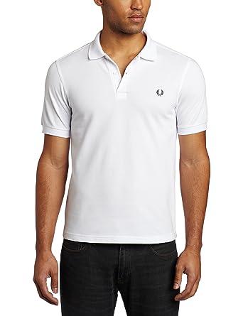 Fred Perry Hombres Camisa de Polo Slim Fit Llano Blanco: Amazon.es ...