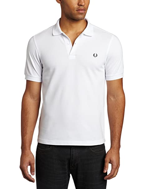 Fred Perry Hombres Camisa de Polo Slim Fit Llano Blanco: Amazon.es ...