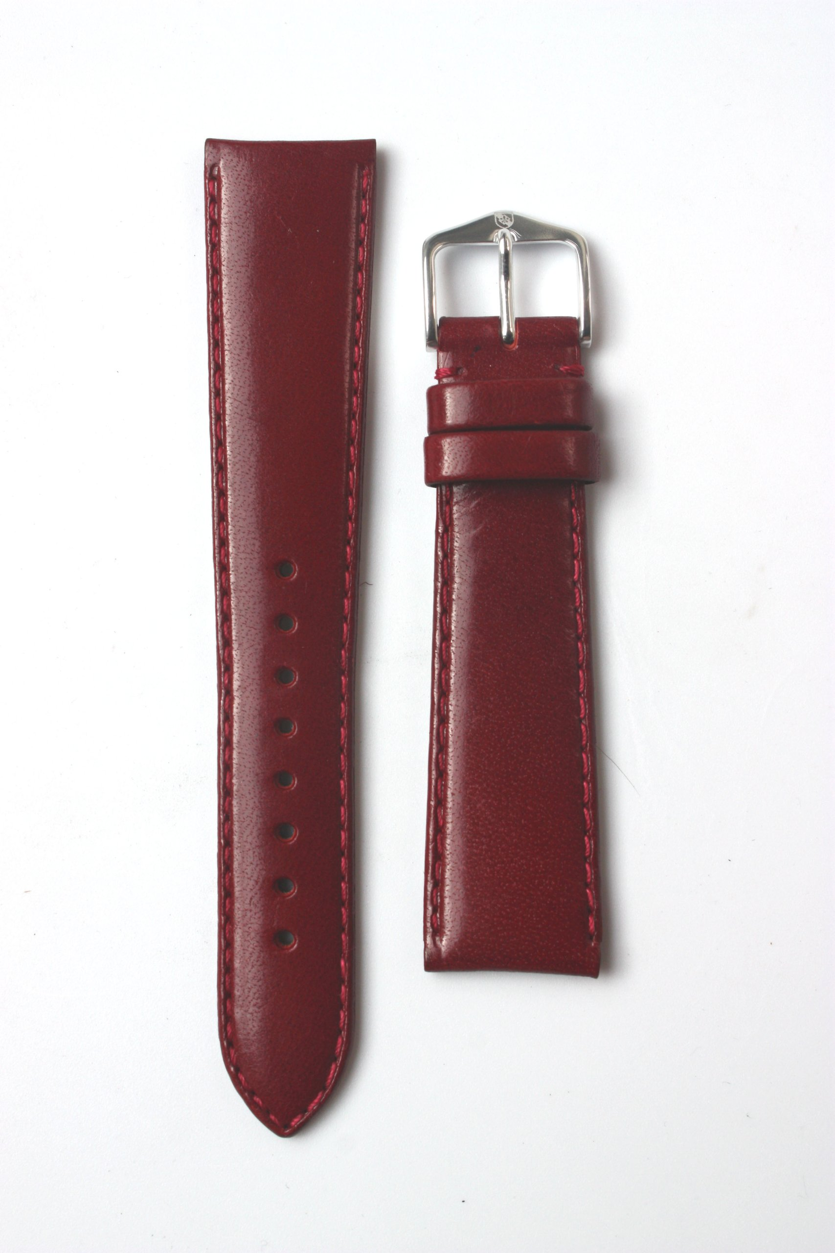 14mm Burgundy Polished Calfskin Leather Watchband with Nubuck Lining and S/S Buckle