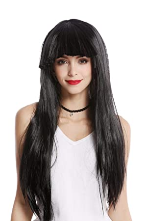 WIG ME UP ® - 1373-103 Peluca Mujer Carnaval Halloween Larga Lisa Flequillo Color