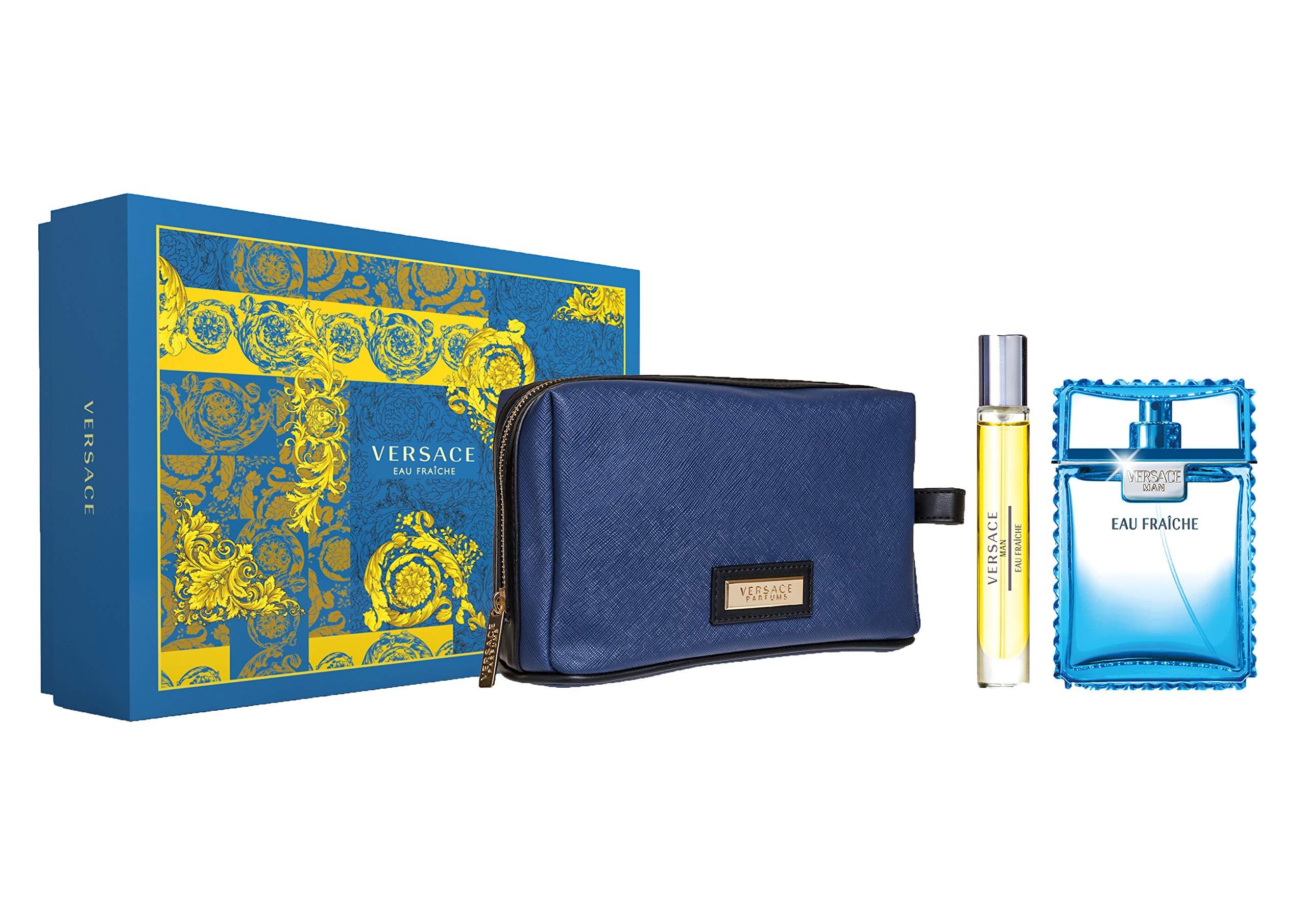 Versace Man Eau Fraiche for Men 3 Piece Gift Set With Eau De Toilette Spray, Mini & Pouch by Versace