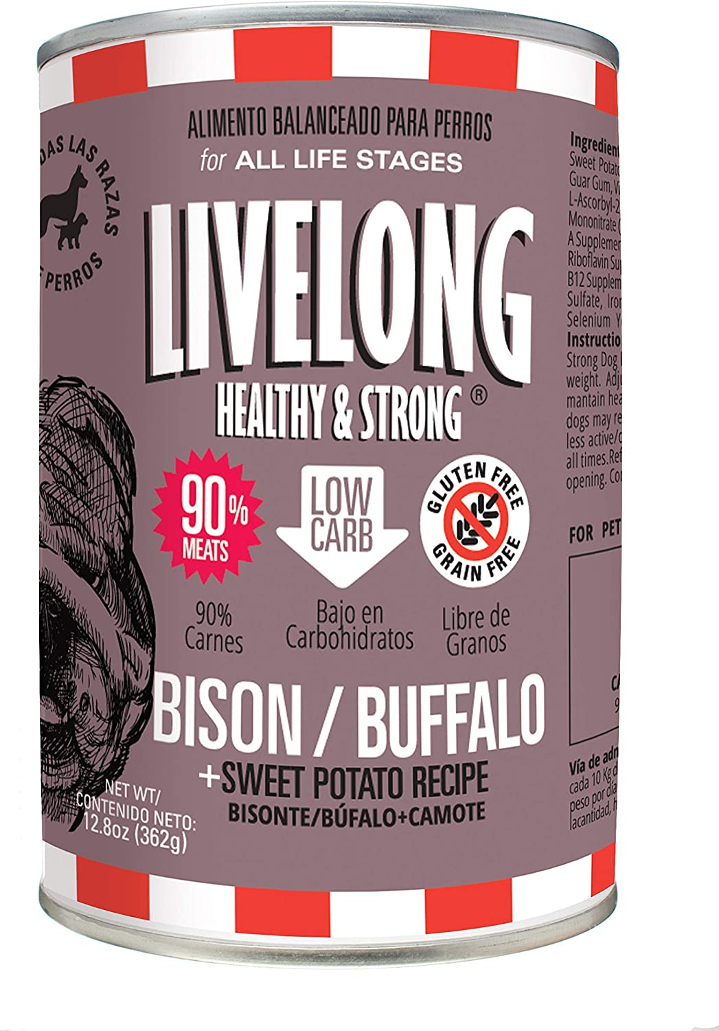 LIVELONG HEALTHY & STRONG Canned Dog Food - 12.8 oz Wet Dog Food with 90% Meat – Premium Dog Food Can with Organic Vegetables – No Grain Recipe – Pack of 12 Dog Food Cans (Bison / Buffalo)
