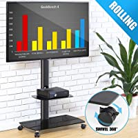 FITUEYES Mobile TV Cart Floor TV Stand with Lockable Caster Wheels for 32 to 65 inch LED LCD Flat/Curved Screen TT206503GB