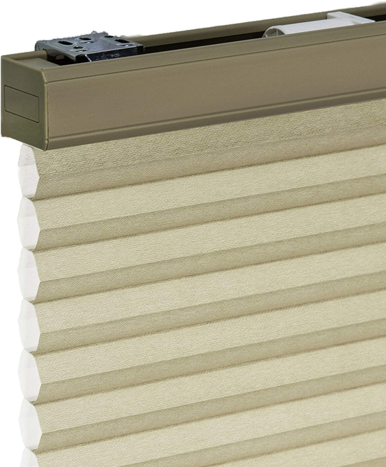 "CHICOLOGY Cordless Cellular Shades Privacy Single Cell Window Blind, 24"" W X 48"" H, Morning Croissant"