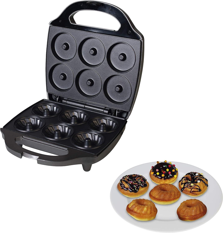 Placas de cocci/ón antiadherentes TKG CKM 1002 NYC Para 6 bizcochos o donuts 900 W Negro Team Kalorik M/áquina de donuts