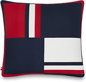 Tommy Hilfiger Global Stripe Decorative Pillow, 20x20 inch, Red