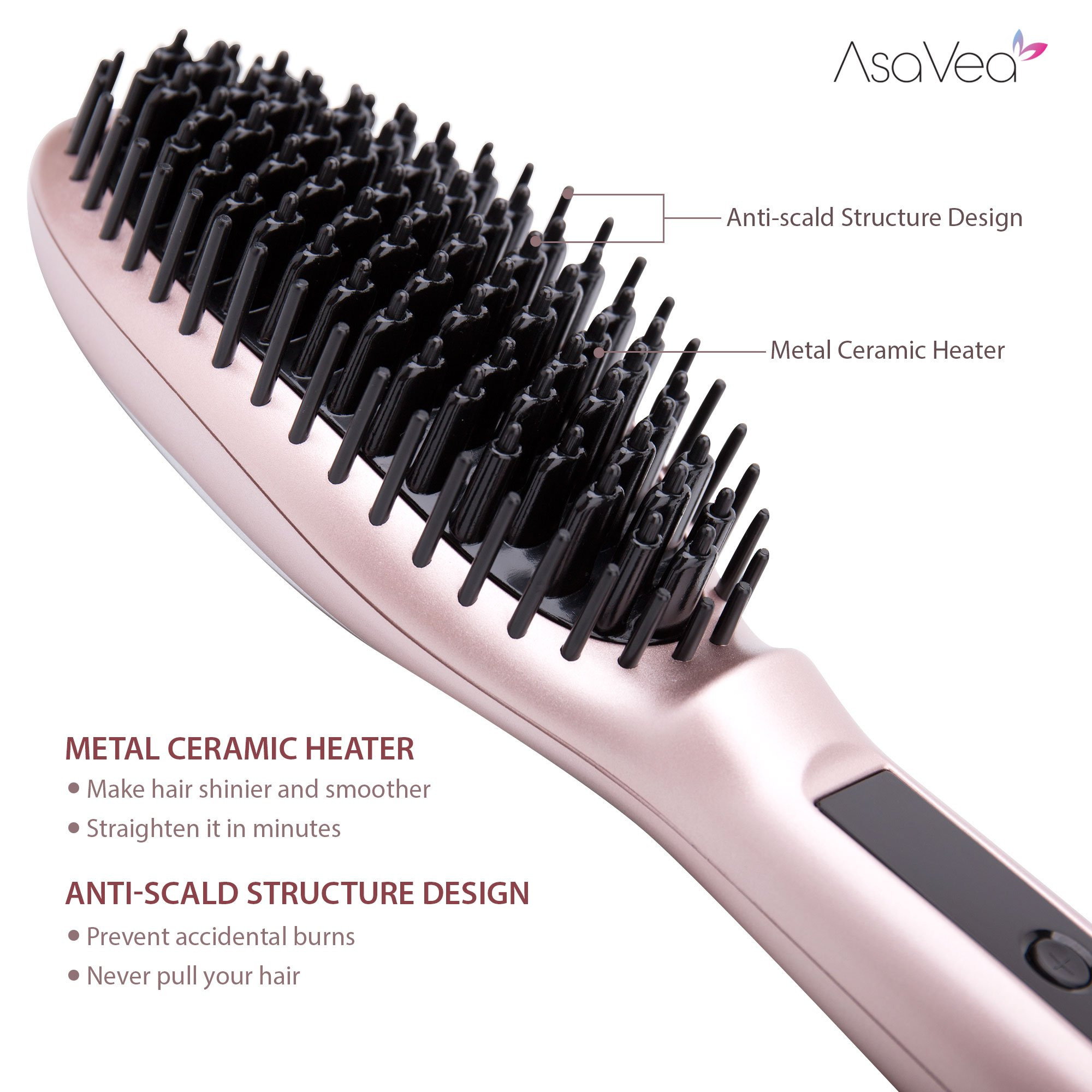 AsaVea Hair Straightener Brush 3.0: MCH Heating Technology and Auto Temperature Lock, Anti-Scald Design - The Best Gift Choice (Rose Gold) by AsaVea (Image #5)