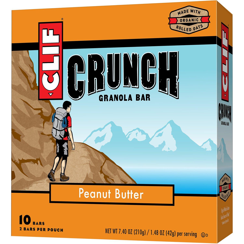 CLIF CRUNCH - Granola Bar - Peanut Butter - (1.48 Ounce, 5 Two-Bar Pouches)