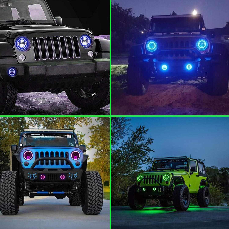 Faros 7 pulgadas Delanteros LED,YEEGO 80W 9600LM Faros LED Redondos para TJLJJK JKU Hummer Toyota Land Haz Alto//Bajo con DRL y anillo de halo Angel Eyes 2PCS blanco + amarillo