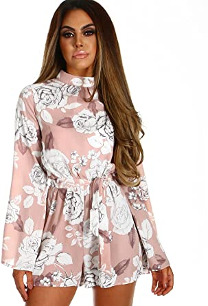 def8398ee6 Spritz In The Sun Pink and White Floral Flare Sleeve Playsuit   Amazon.co.uk  Clothing