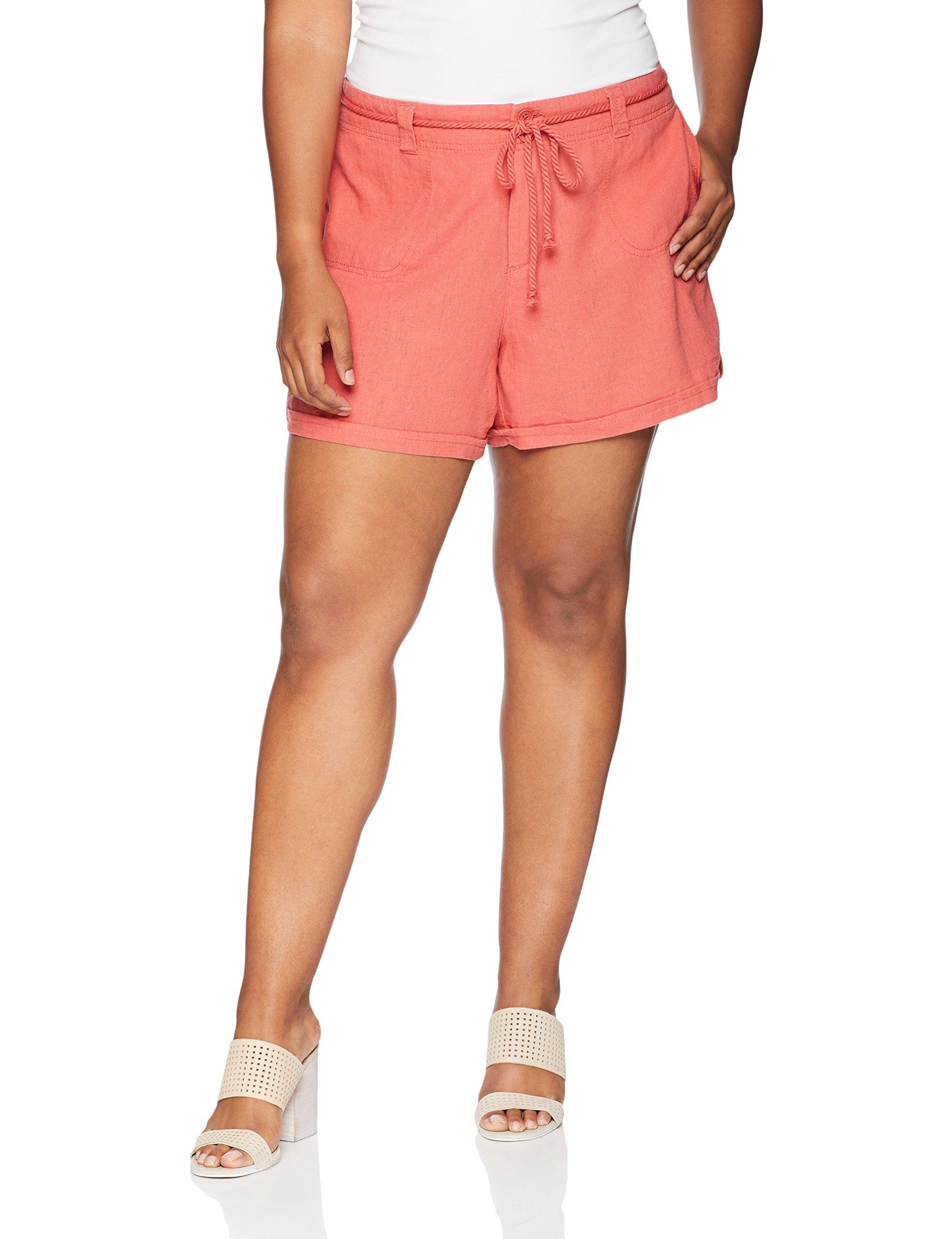 dollhouse Women's Plus Size Linen, Burnt Sienna, 14