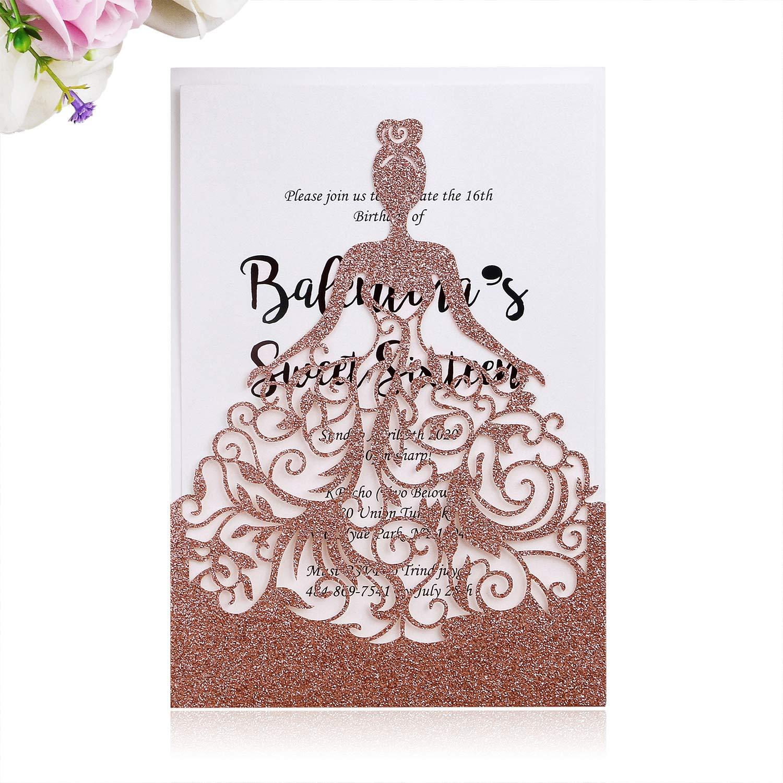 PONATIA 25PCS Lacer Cut Wedding Invitations Card Hollow Bride Invitations Cards for Wedding Bridal Invitation Engagement Invitations Cards (Rose Gold Glitter-2)