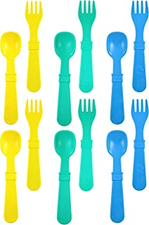 product image for RE-PLAY Made in The USA 12pk Fork and Spoon Utensil Set for Easy Baby, Toddler, and Child Feeding in Yellow, Aqua and Sky Blue | Made from Eco Friendly Heavyweight Recycled Milk Jugs | (Surf)