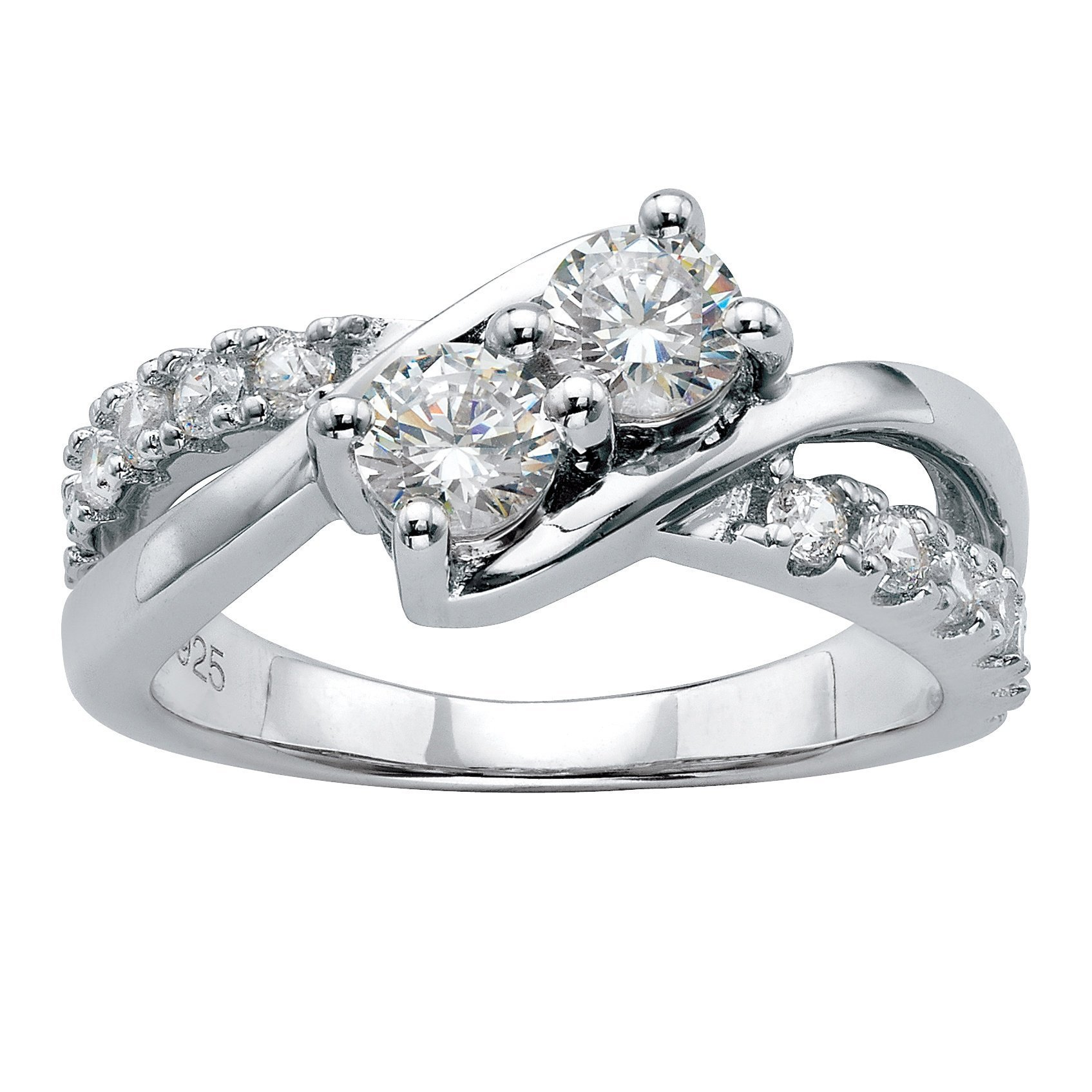 Platinum over Sterling Silver Round Cubic Zirconia Crossover Promise Ring Size 9