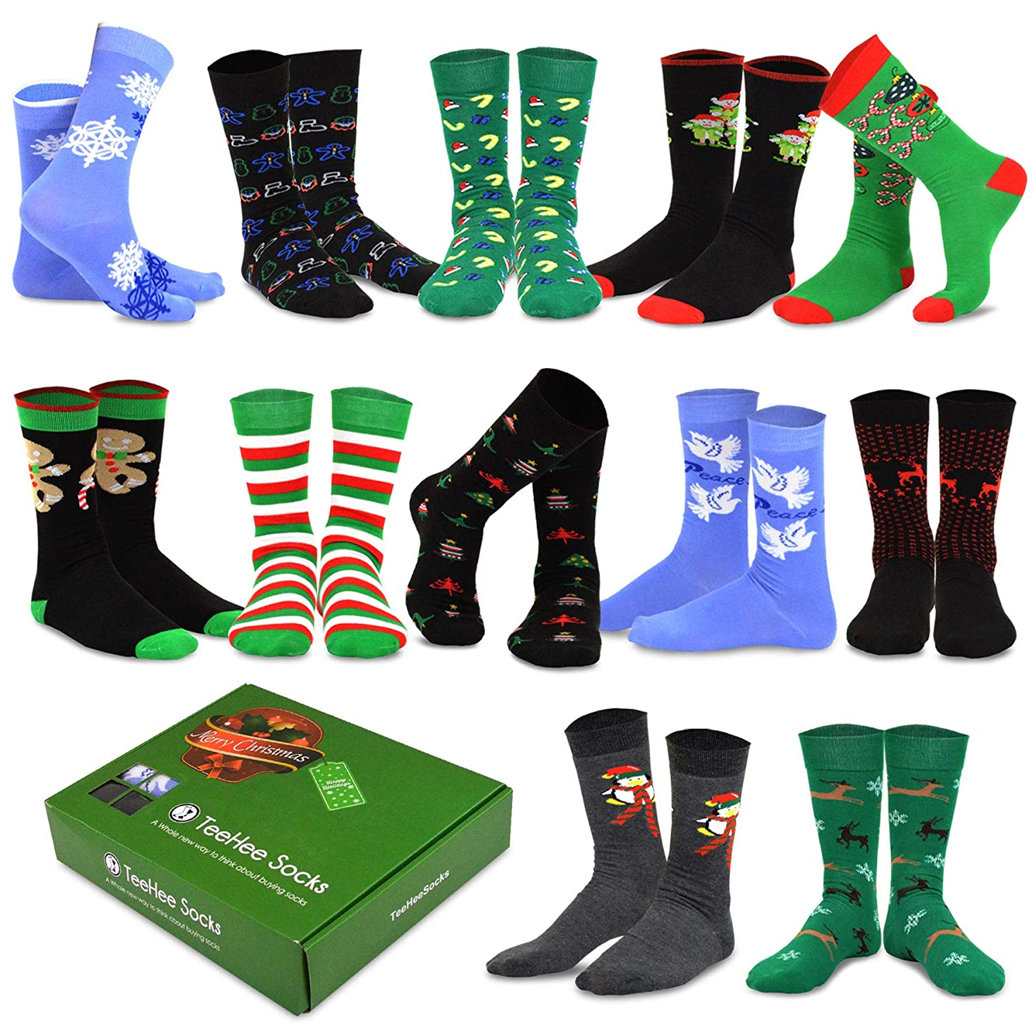 02a20433f92 TeeHee Christmas Holiday 12-Pack Gift Socks for Men with Gift Box (Holiday-A)  at Amazon Men s Clothing store