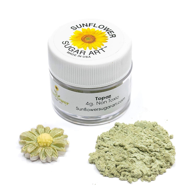 Topaz Edible Luster Dust   Edible Powder & Dust   Food Grade Luster Dust for Decorating, Fondant, Baking   Polvo Matizador   Cakes, Vegan Paint, & Dust   Sunflower Sugar Art