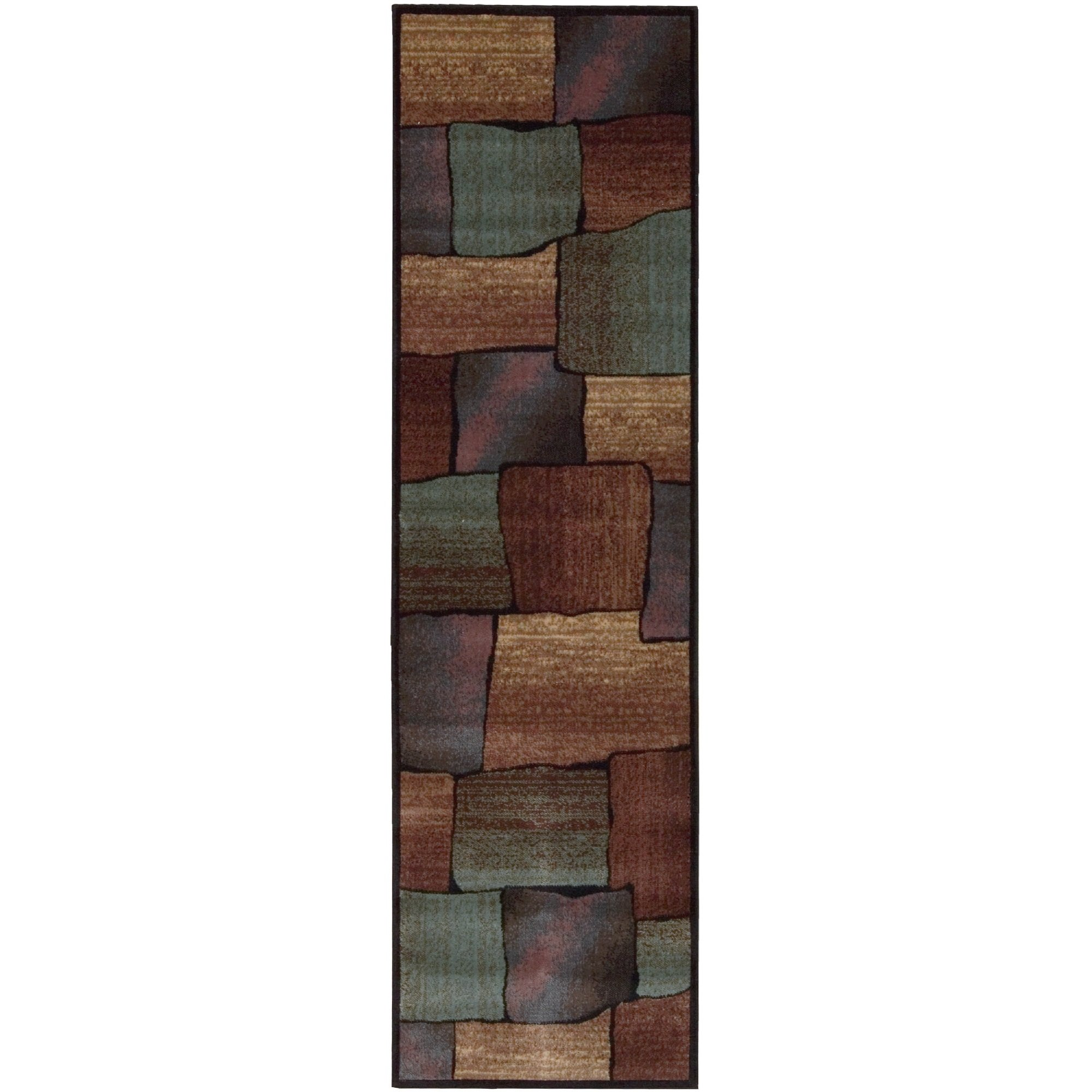 Earthy Geometric Squares Design Area Rug, Featuring Rustic Color Blocked Boxes Pattern, Runner Indoor Hallway Doorway Bedroom Dining Area Carpet, Western Country Themed, Brown, Green, Size 2' x 5'9