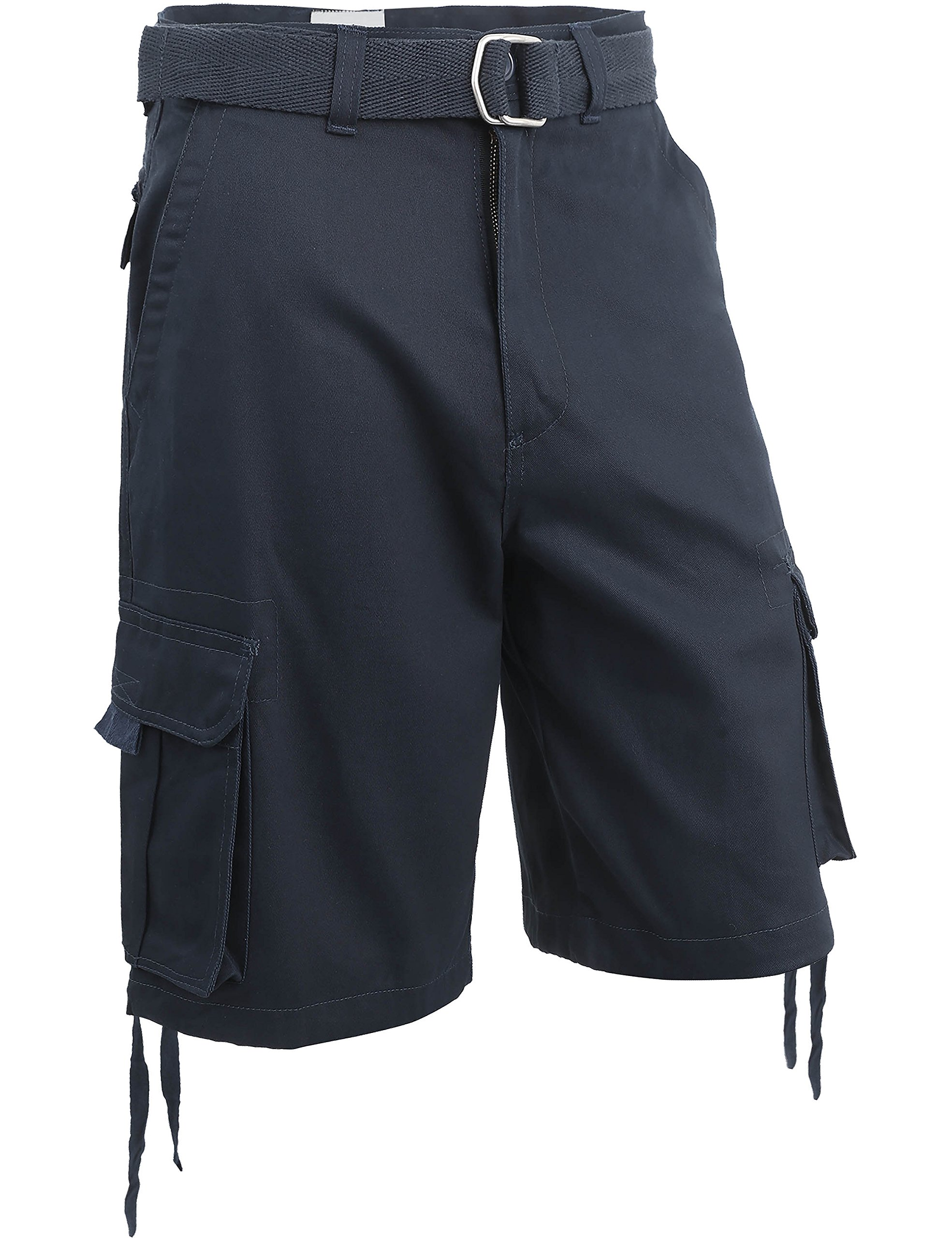 Hat and Beyond IH Mens Twill Cargo Shorts with Belt Loose Fit Cotton Multi Pocket Outerwear (50/b. iha03_Navy)