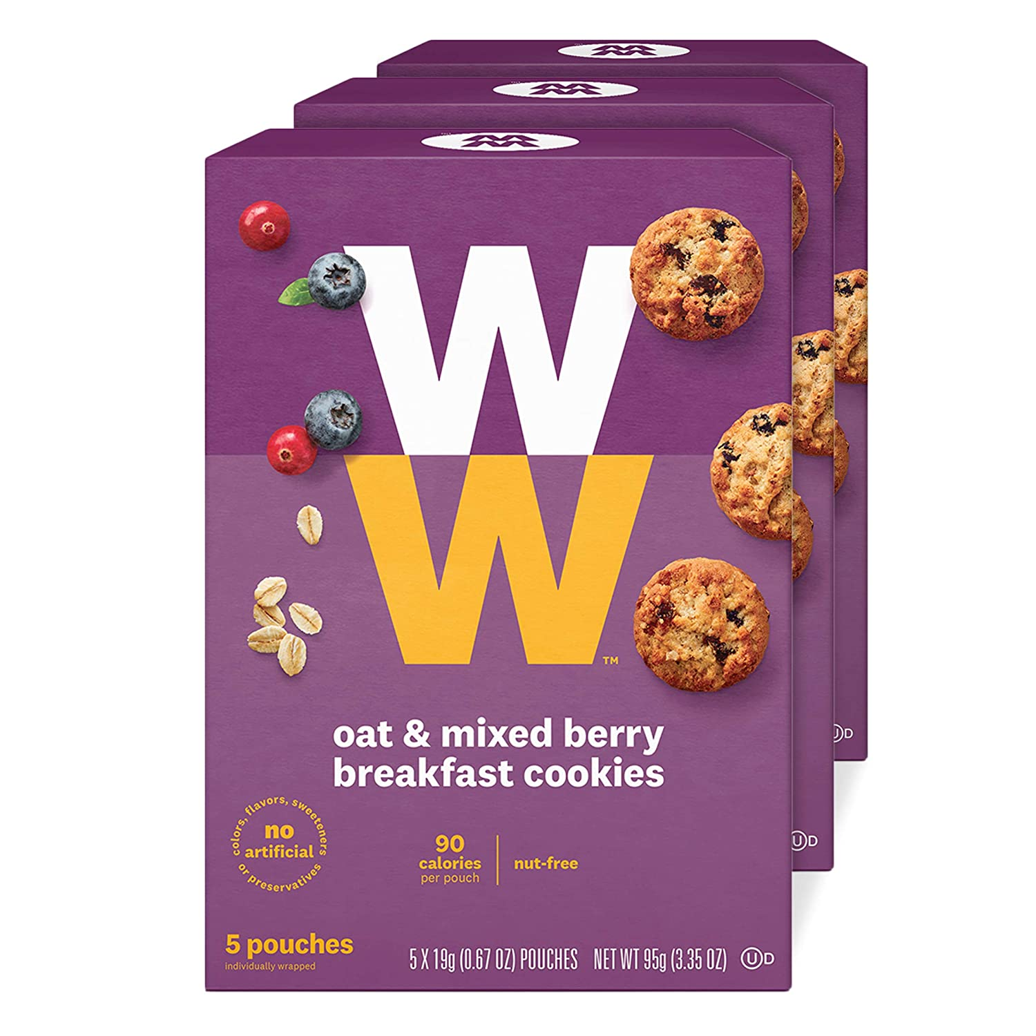 WW Oat & Mixed Berry Breakfast Cookies - 3 SmartPoints, Nut Free - 3 Boxes (15 Count Total) - Weight Watchers Reimagined