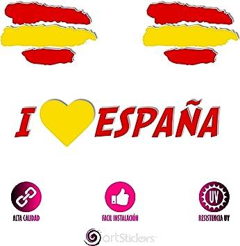 Artstickers Pegatinas Bandera de España, Pack 3 Pegatinas + 1 Adhesivo SPILARTS®: Amazon.es: Coche y moto