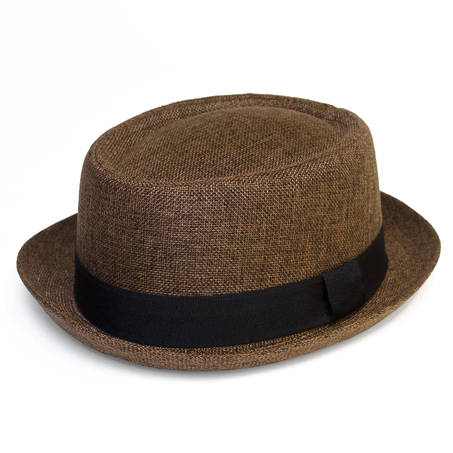 Pork Pie Hat with Narrow Brim and a Contrasting Band - Ladies Womens Mens Unisex Hat