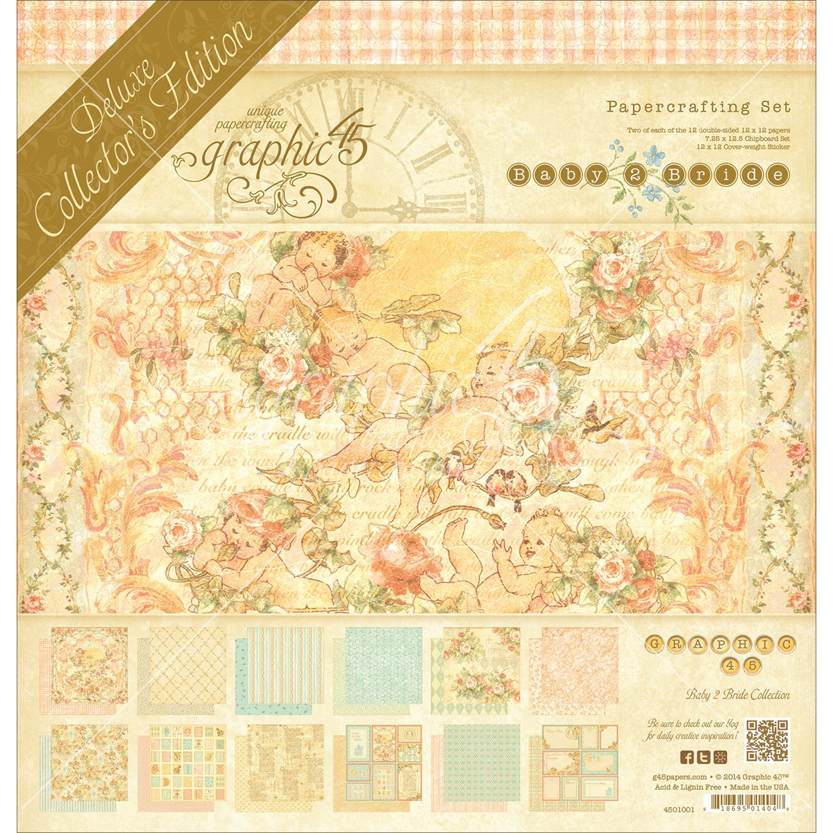 Graphic 45 Deluxe Collector's Edition Pack, 12x12-Inch, Baby 2 Bride 4501001