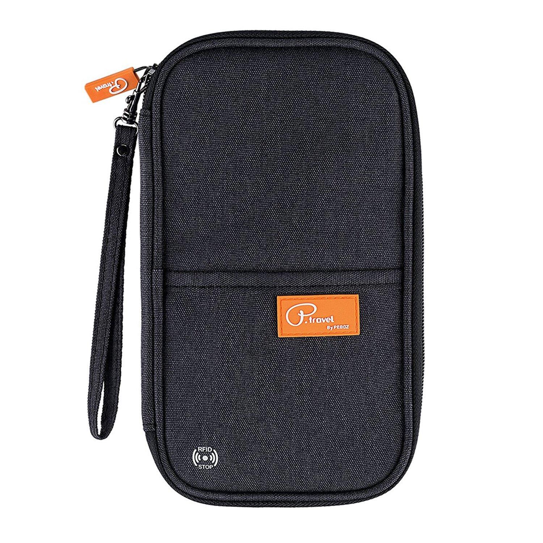 EVATECH Passport Holder RFID Blocking - Passport Wallet Cover Case Travel Wallet Document Organizer (Black,L)