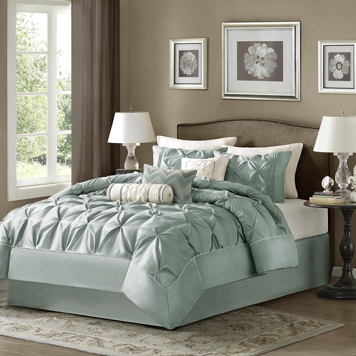 hot sale 2017 OSD 7pc Seafoam Green Blue Pinch Pleated Comforter Queen Set, Plush Pinched Pleat Bedding, Dusty, Stylish Pin Tuck Puckered Texture, Chic Pintuck Diamond Tufted Texture Themed