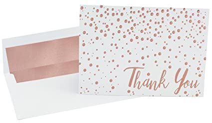 amazon com thank you cards 20 pack of a7 5x7 rose gold