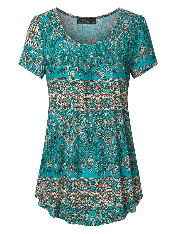 Vinmatto Women's Scoop Neck Pleated Blouse Top Tunic Shirt(L,Multi Green)