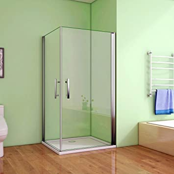 185cm Duschkabine Pendeltür mit Seitenwand Duschabtrennung Eckeinstieg NANO Glas
