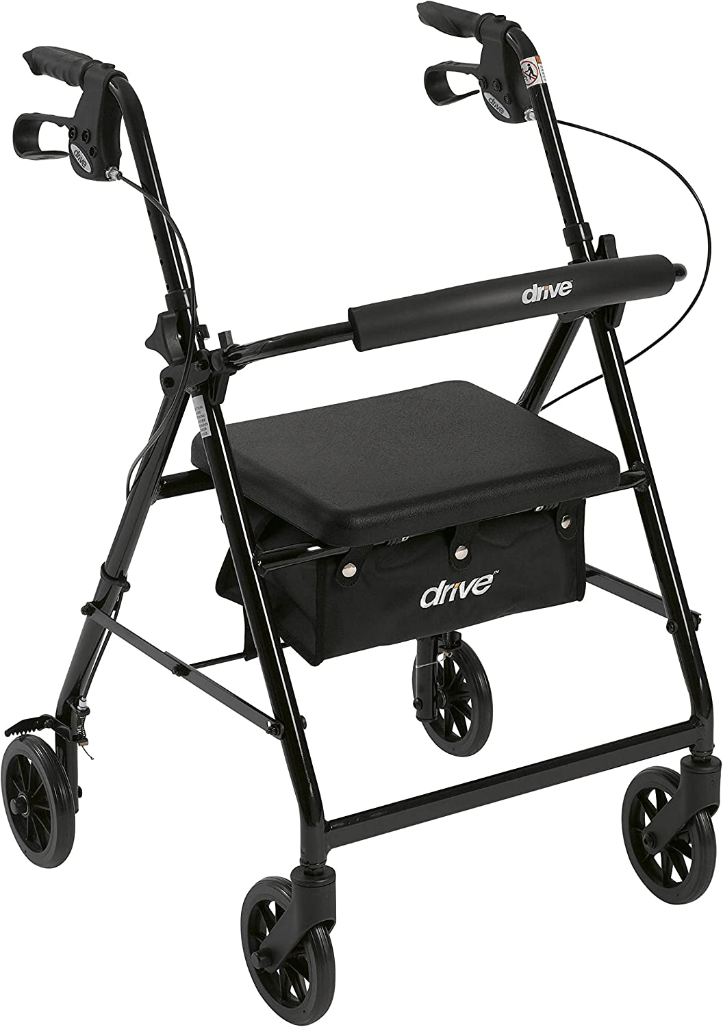 "Drive Medical Aluminum Rollator Walker Fold Up and Removable Back Support, Padded Seat, 6"" Wheels, Black: Complete Medical: Health & Personal Care"