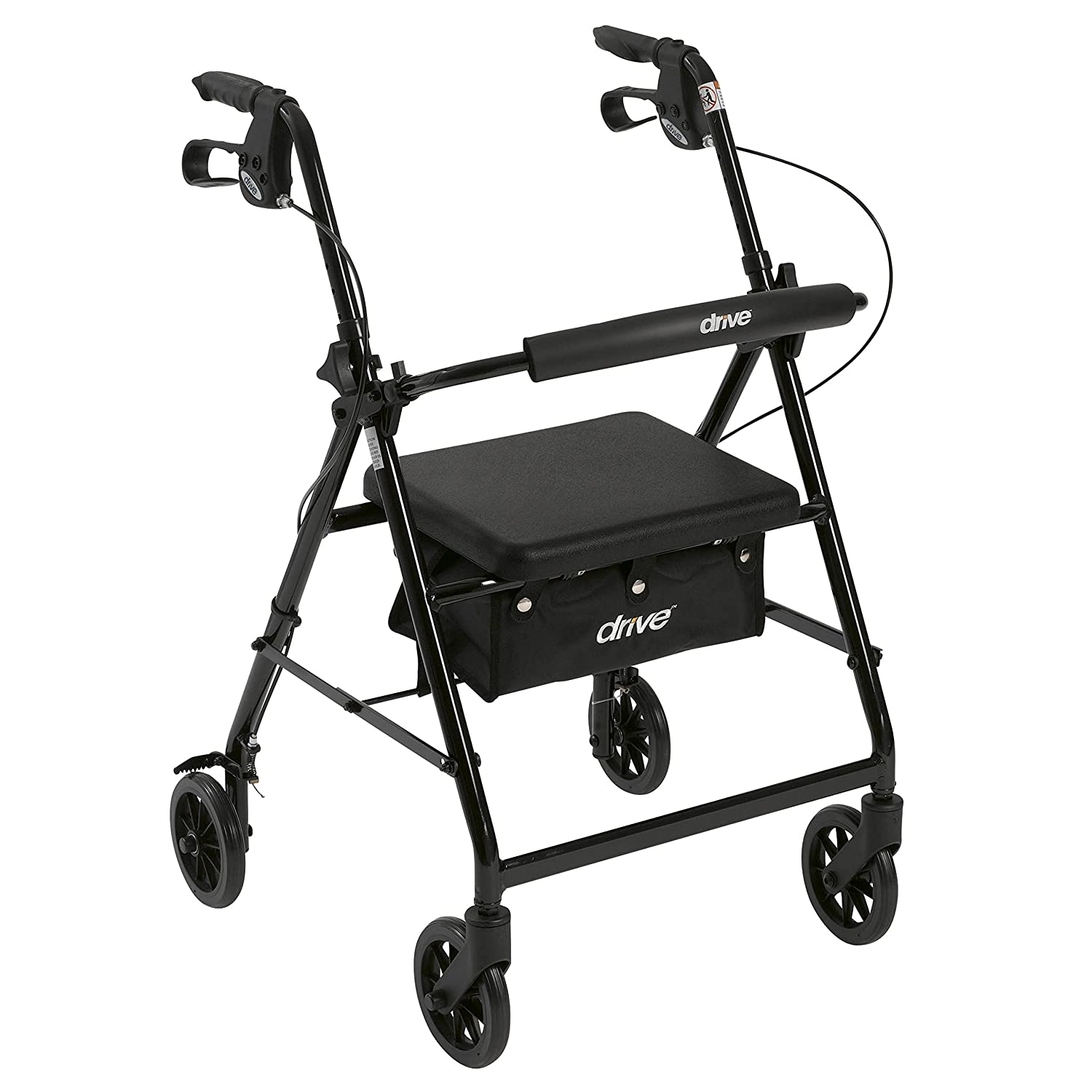 "Drive Medical Aluminum Rollator Walker Fold Up And Removable Back Support, Padded Seat, 6"" Wheels, Black by Drive Medical"