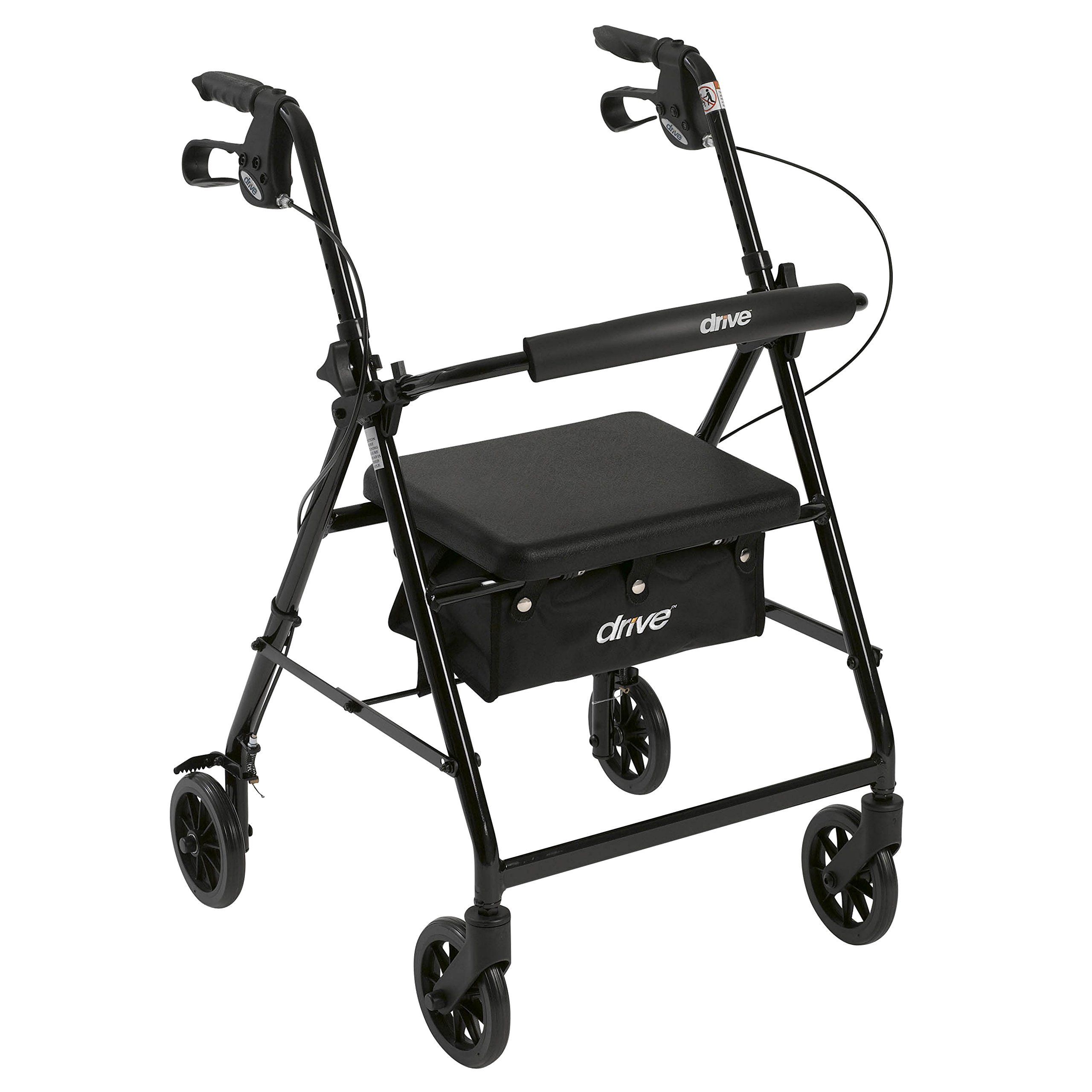 Drive Medical Aluminum Rollator Walker Fold Up and Removable Back Support, Padded Seat, 6'' Wheels, Black